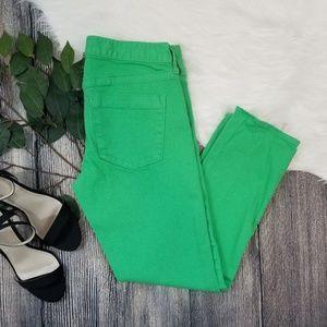 J. Crew Matchstick Green Skinny Jeans